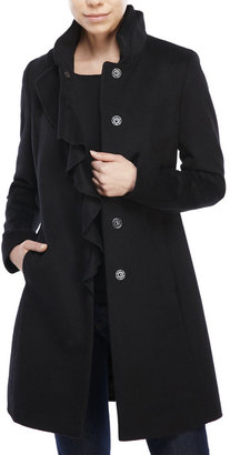 dkny Ruffle Front Wool-Blend Coat $240 thestylecure.com