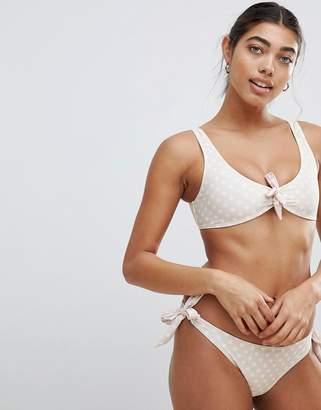 Missguided Tie Front Polka Dot Bikini Top