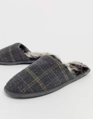 totes check mule slipper in grey