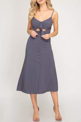 She + Sky Front-Tie Button Midi-Dress