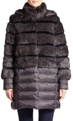 a57702f74eb Dawn Levy Taryn Fox Fur-Front Puffer Coat