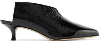 Tibi Jase Crinkled Patent-leather Mules - Black