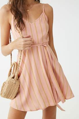 Forever 21 Striped V-Neck Mini Dress