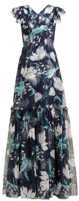 Erdem Franceline Leighton Print Ruffled Silk Gown - Womens - Navy Print
