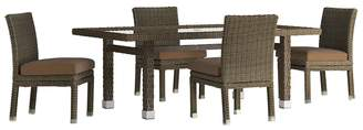 HomeVance Outdoor HomeVance Ravinia Brown Wicker Patio Dinning Table & Armless Chair 5-piece Set