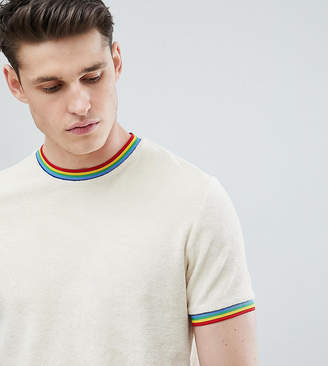 BEIGE Asos Design ASOS DESIGN Tall t-shirt with rainbow tipping in towelling in