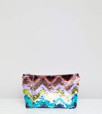 Accessorize rainbow sequin clutch bag with chain strap