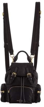 Burberry Small Leather-Trim Nylon Rucksack Backpack