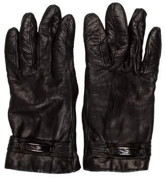 Fendi Logo Leather Gloves