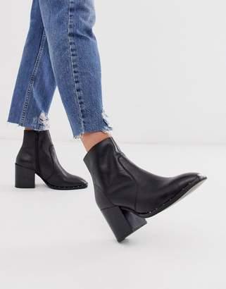 Asos Design DESIGN Restore leather studded block heel boots in black