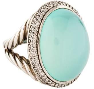 David Yurman Chalcedony & Diamond Oval Cocktail Ring