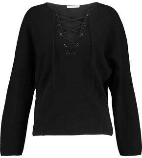 Vince Lace-Up Merino Wool And Cashmere-Blend Top