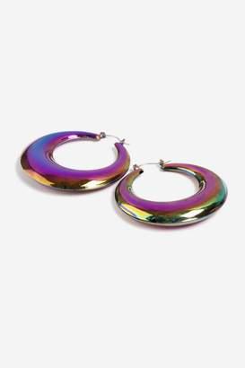 Topshop Petrol Thick Hoop Earrings