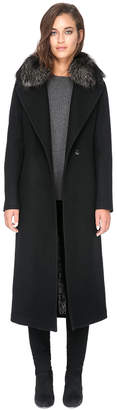 Soia & Kyo MARLENE-FX maxi length boiled wool coat with fur trim
