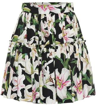 Dolce & Gabbana Floral cotton-poplin miniskirt