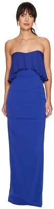 Nicole Miller Techy Crepe Strapless Gown w/ Flare Women's Dress
