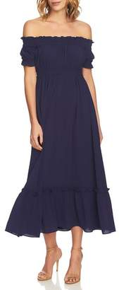 CeCe Vivian Off the Shoulder Smocked Maxi Dress