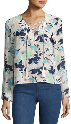Lucca Couture Long-Sleeve Tasseled Lace-Up Floral Top $49 thestylecure.com