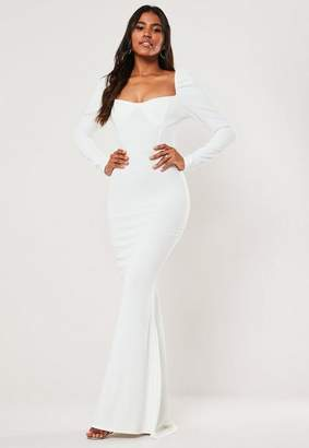 Missguided Bridesmaid White Milkmaid Long Sleeve Fishtail Maxi Dress