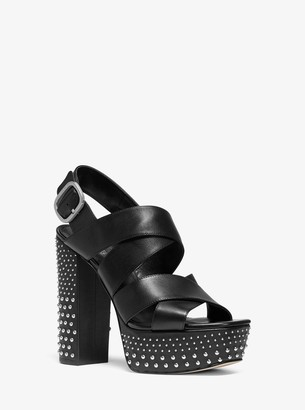 MICHAEL Michael Kors Mila Studded Leather Platform Sandal