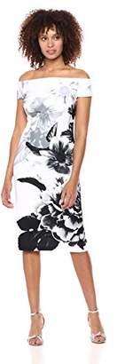 S.L. Fashions Women's Off Shoulder Print Dress