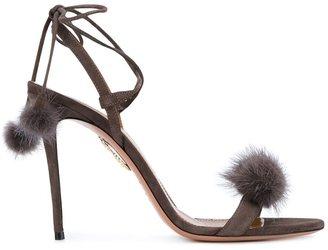 Aquazzura 'Wild Thing' Russian Mink Fur Sandals $895 thestylecure.com