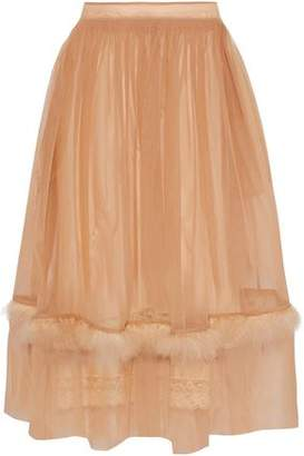 Simone Rocha Feather-Trimmed Tulle Midi Skirt