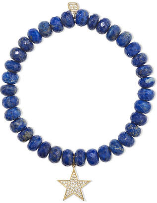 Sydney Evan Star Lapis Lazuli, Diamond And 14-karat Gold Bracelet