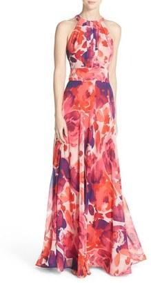 Women's Eliza J Floral Print Halter Maxi Dress $158 thestylecure.com