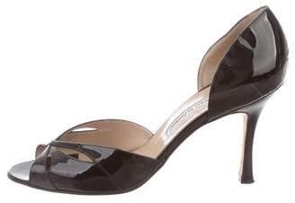 Manolo Blahnik Patent Leather Peep-Toe Sandals