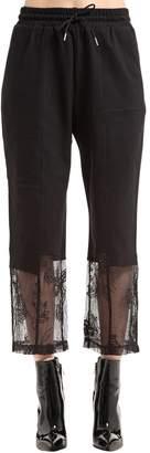 McQ Cropped Sweatpants W/ Lace Hem