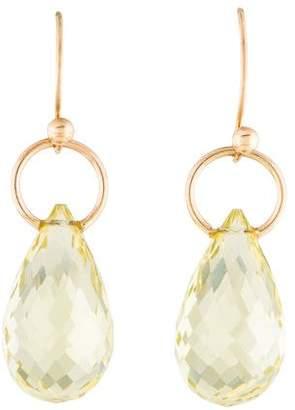 14K Yellow Quartz Drop Earrings