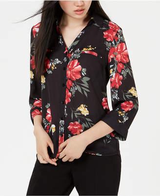 BCX Juniors' Printed Button-Front Shirt