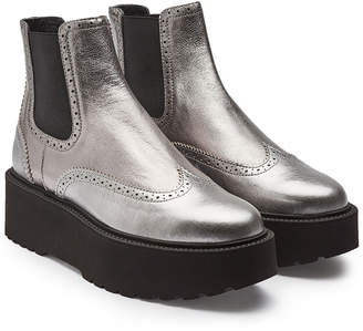 Hogan Leather Platform Ankle Boots