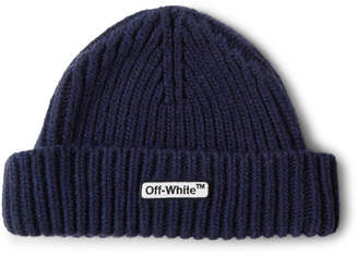 Off-White Off White Logo-appliqued Ribbed Wool-blend Beanie - Navy