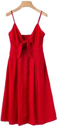 Goodnight Macaroon 'Christine' Front Knotted Shoulder Strap Dress with Button Detail (4 Colors)