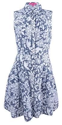 Betsey Johnson Women's Square Check Burnout Cotton Shirt Dress