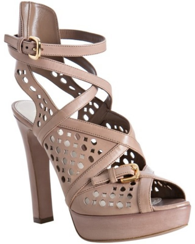 Prada nude eyelet leather platform sandals