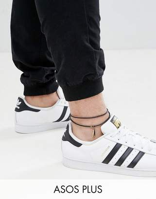 Asos DESIGN Plus Leather Anklet With Feather