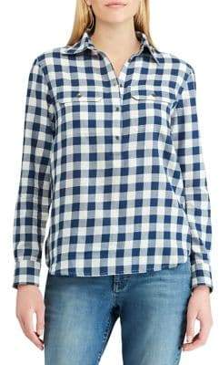 Chaps Petite Straight-Fit Plaid Shirt