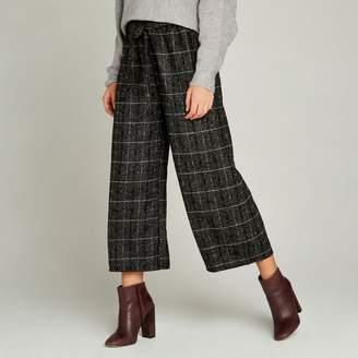 Apricot Grey Check Tweed Culottes