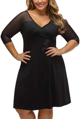 YIRANSHINI Women's Skater Bodycon Dress Plus Size Dress Solid Color V Collar Mesh Short Sleeves Flattering Sexy Dress