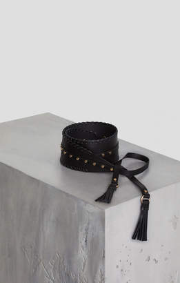 BCBGMAXAZRIA Pleather Tie-Front Tassel Belt
