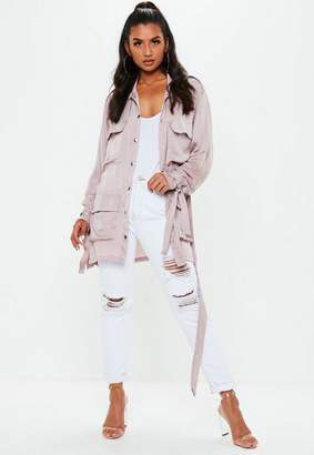 Missguided Purple Satin Field Jacket