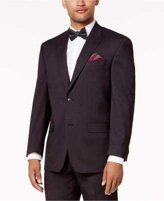 Sean John Men's Classic-Fit Stretch Burgundy Tic Peak Lapel Suit Jacket