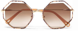Chloé Poppy Petite Octagon-frame Snake-effect Acetate And Gold-tone Sunglasses