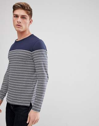 Celio Long Sleeve Top In Linen Mix With Stripe