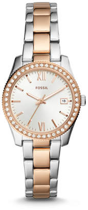 Fossil Scarlette Three-Hand Date Two-Tone Stainless Steel Watch