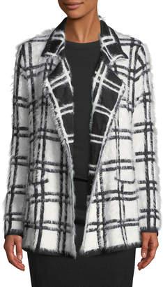 Neiman Marcus Open-Front Plaid Eyelash Knit Cardigan