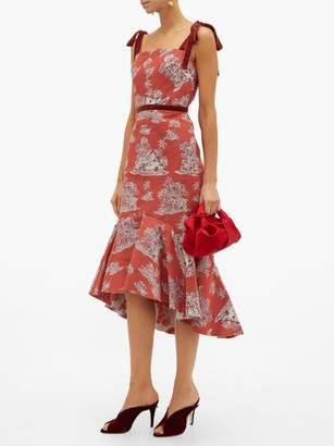 Johanna Ortiz Pueblo Printed Cotton Blend Midi Dress - Womens - Red Multi
